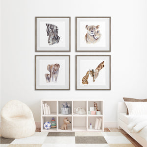 Set of 4 Framed Mom and Baby Safari Animals