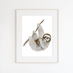 Mom and Baby Sloth Watercolor Print