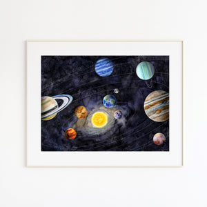Solar System Watercolor Art