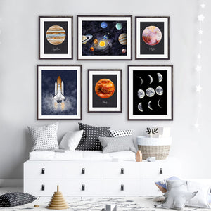 Space Nursery Playroom Print Set