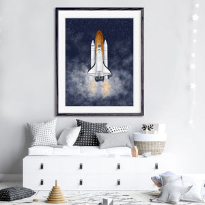 Space Shuttle Print Night Sky