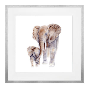 4 Framed Safari Mom and Baby Animal Prints