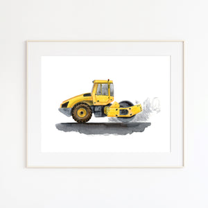 Yellow Steam Roller Nursery Print