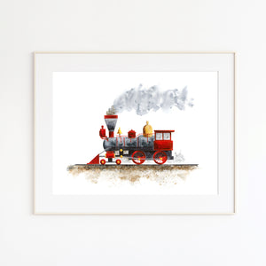 Red Steam Train Nursery Art