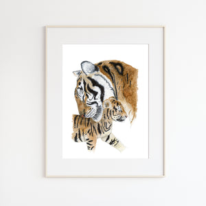 Mom and Baby Tiger Watercolor Print