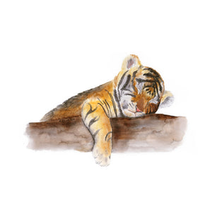 Sleeping Baby Tiger Nursery Print