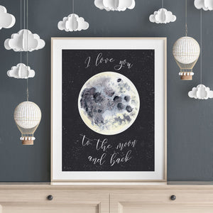 I Love You to the Moon and Back Wall Art Baby Gift