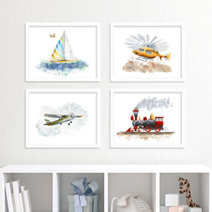 Set of 4 prints in transportation painting series