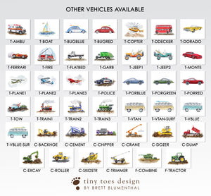 Vehicle Options for Custom Truck and Car Print Set