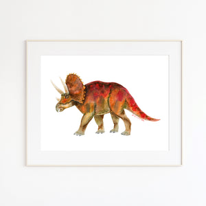 Triceratops Watercolor Illustration