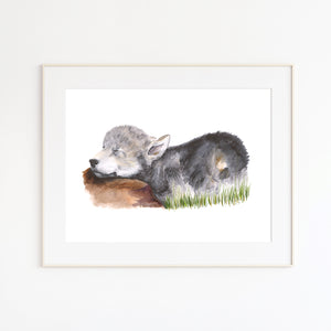 Sleeping Wolf Pup Watercolor