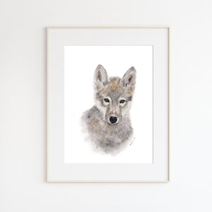 Wolf Pup Watercolor Art