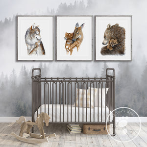 Mom and Baby Woodland Animal Prints