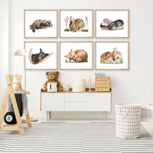 Baby Animal Watercolor Print Set