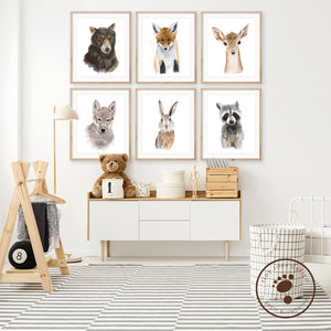 Woodland Baby Animal Nursery Art