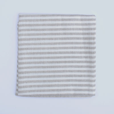 Fog Linen Work Chambray Towel: Natural Stripe
