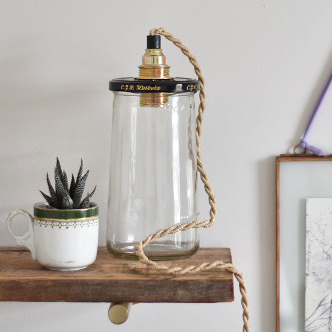 Small Pickle Jar Lamp Rope Cord