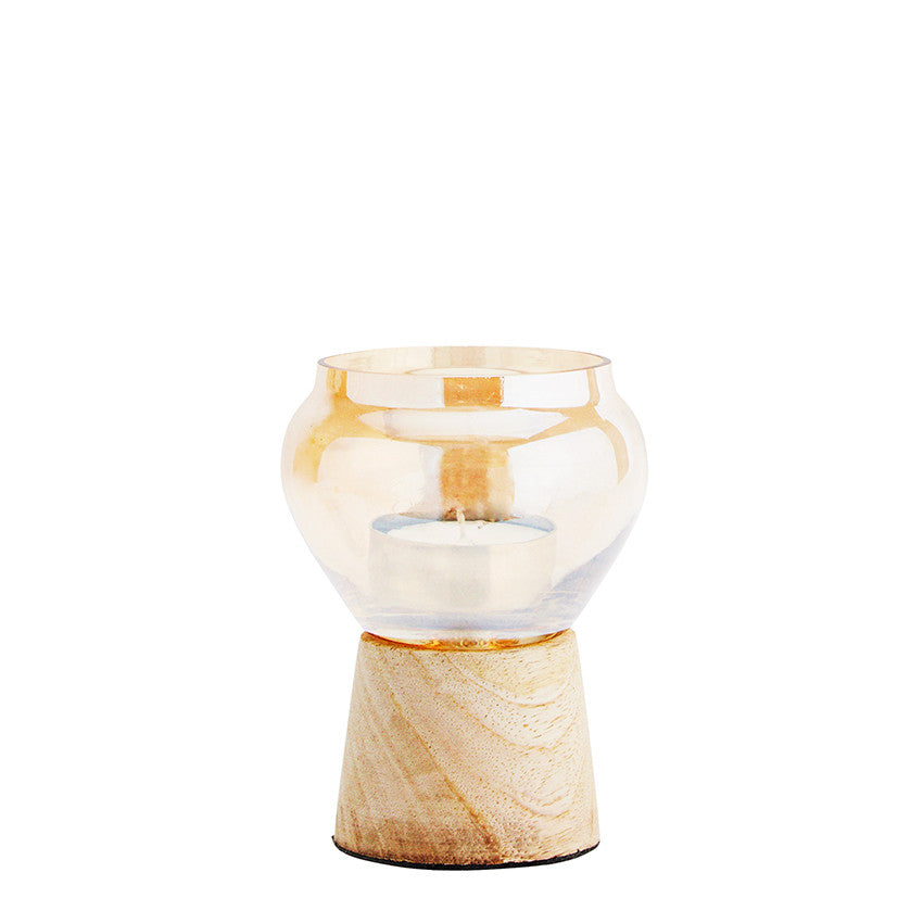 Wood and Glass Tealight Holder