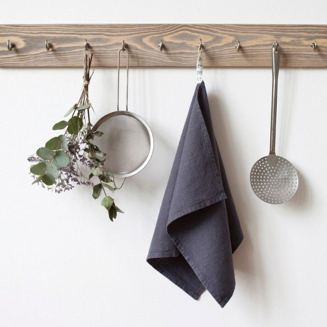washed linen tea towel dark grey linentales