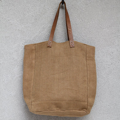 Tote With Leather handle - Camel