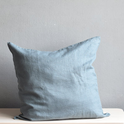 Linen Cushion Cover, Blue Fog