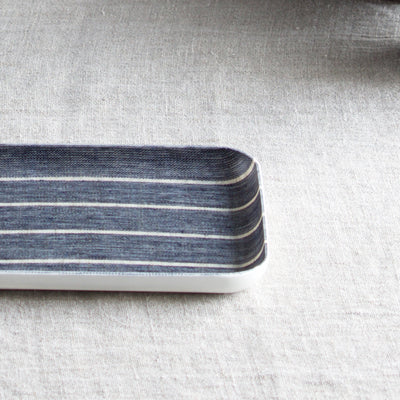 Small Fog Linen Tray - Navy Wide Stripe