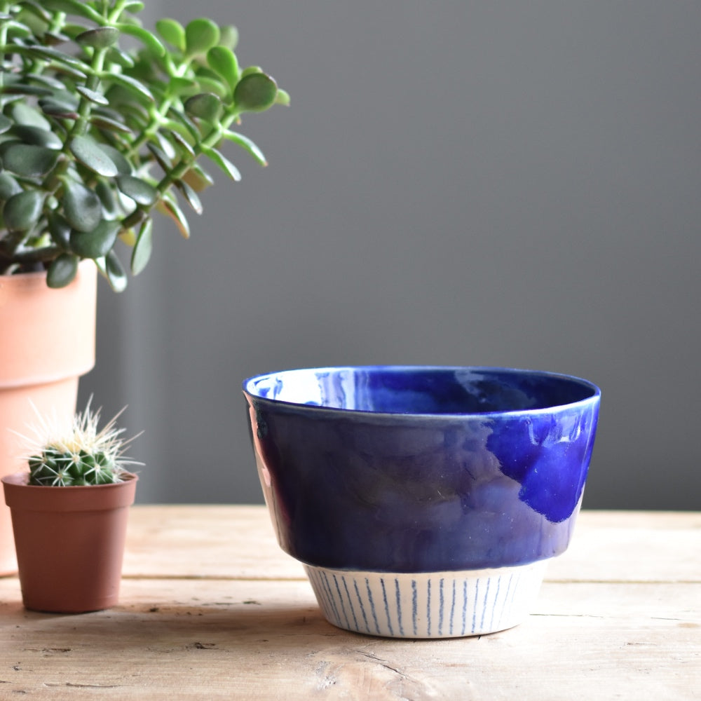 Handmade Ceramic Planter - blue