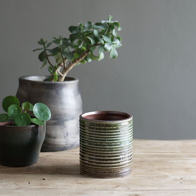 Earthy Green Ceramic Plant Pot