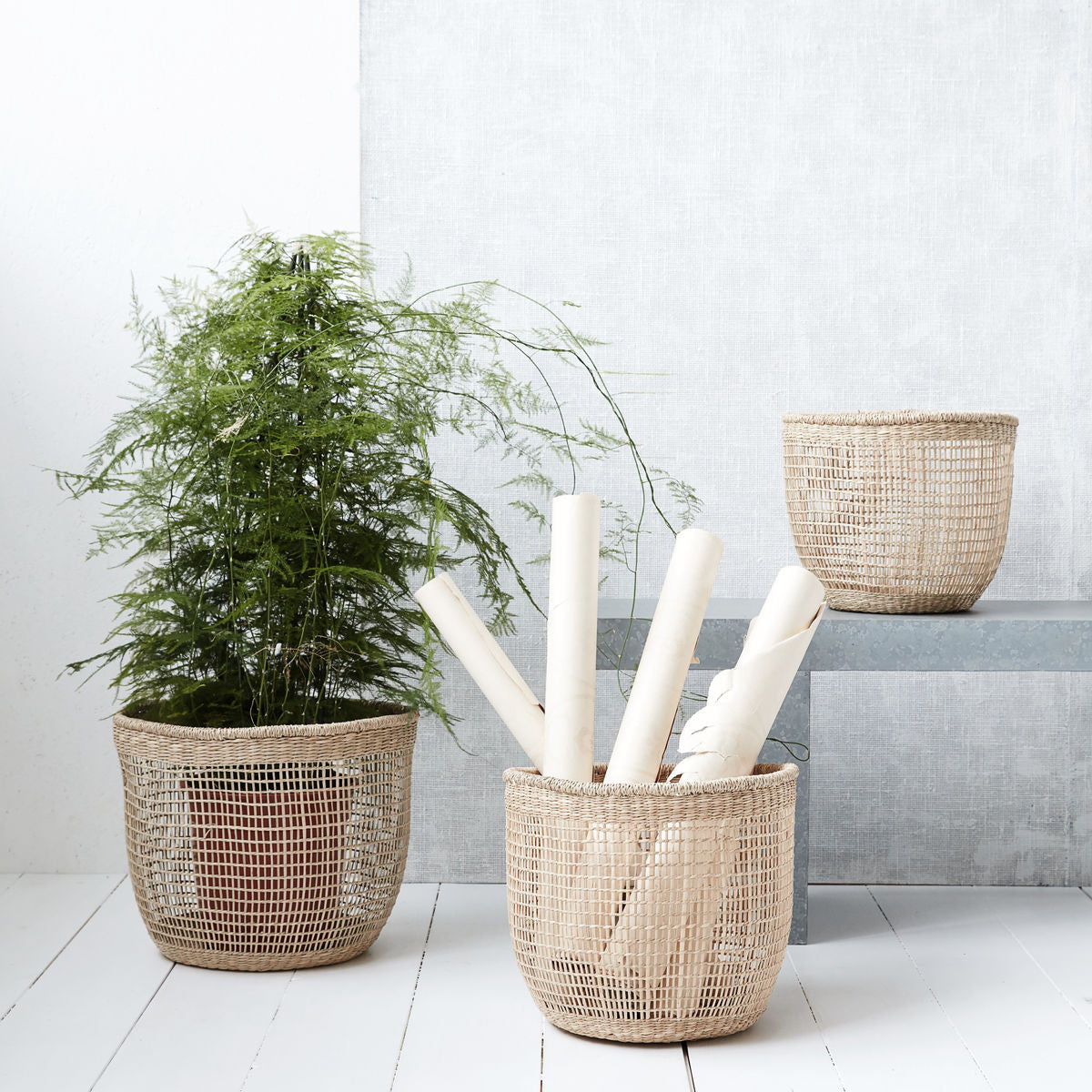 natural weave baskets from house doctor