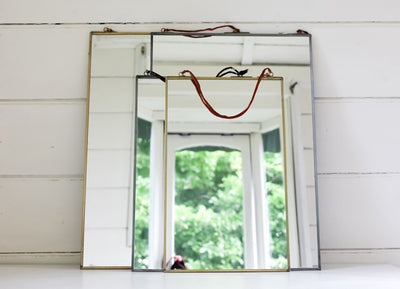 Square Antique Brass Frame Mirror