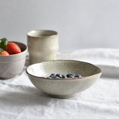 Organic Shaped Ceramic Bowl, Lake, Grey