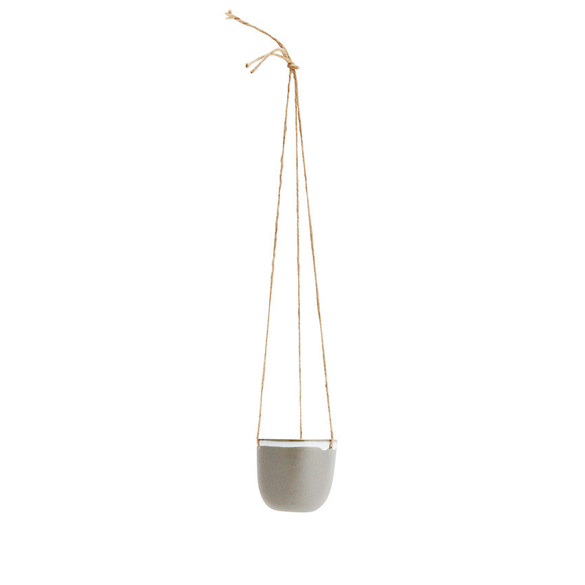 small ceramic hanging planter matt grey white