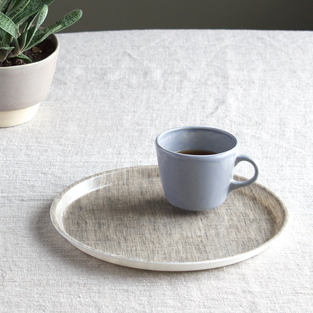 Round Linen Tray - Natural