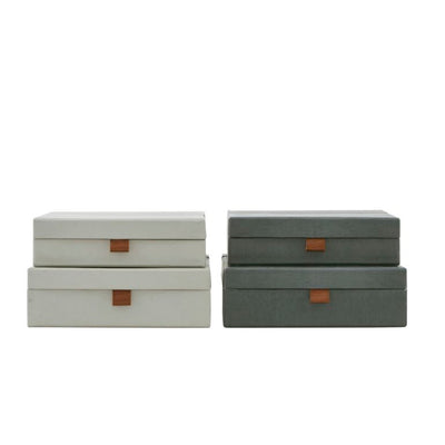 Set of Two Storage Boxes in Grey Green