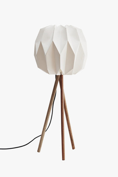 Table Lamp White Paper Shade with Wood Legs