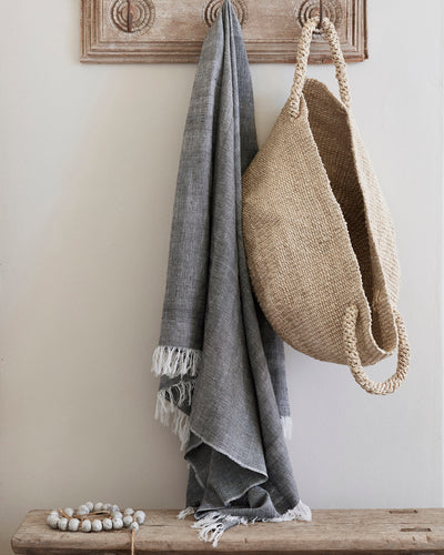 Suryia Cotton Throw - Charcoal