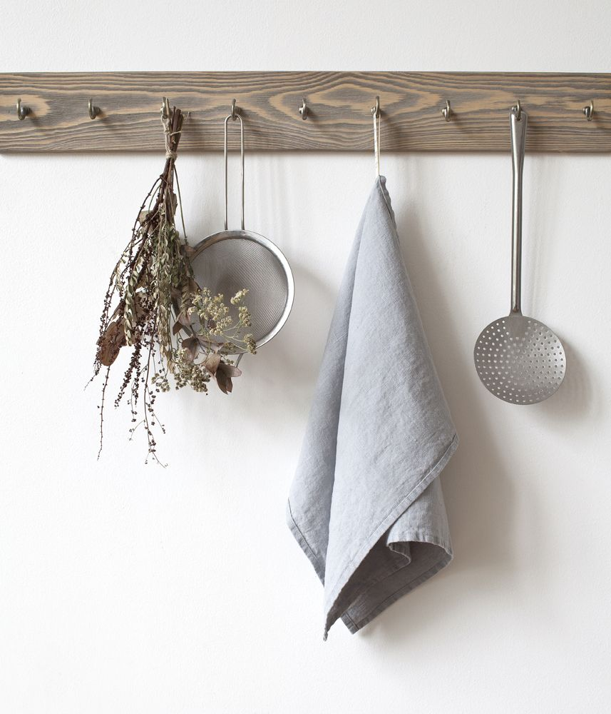 washed linen tea towel light grey linentales