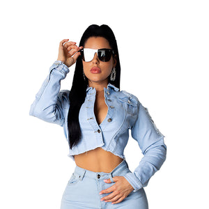 Stylish Long Sleeve Blue Short Denim Jacket
