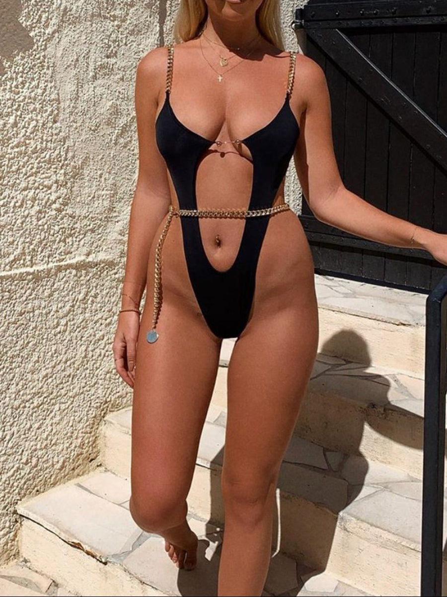 Sexy Black Chain Linked High Cut One Piece Suit
