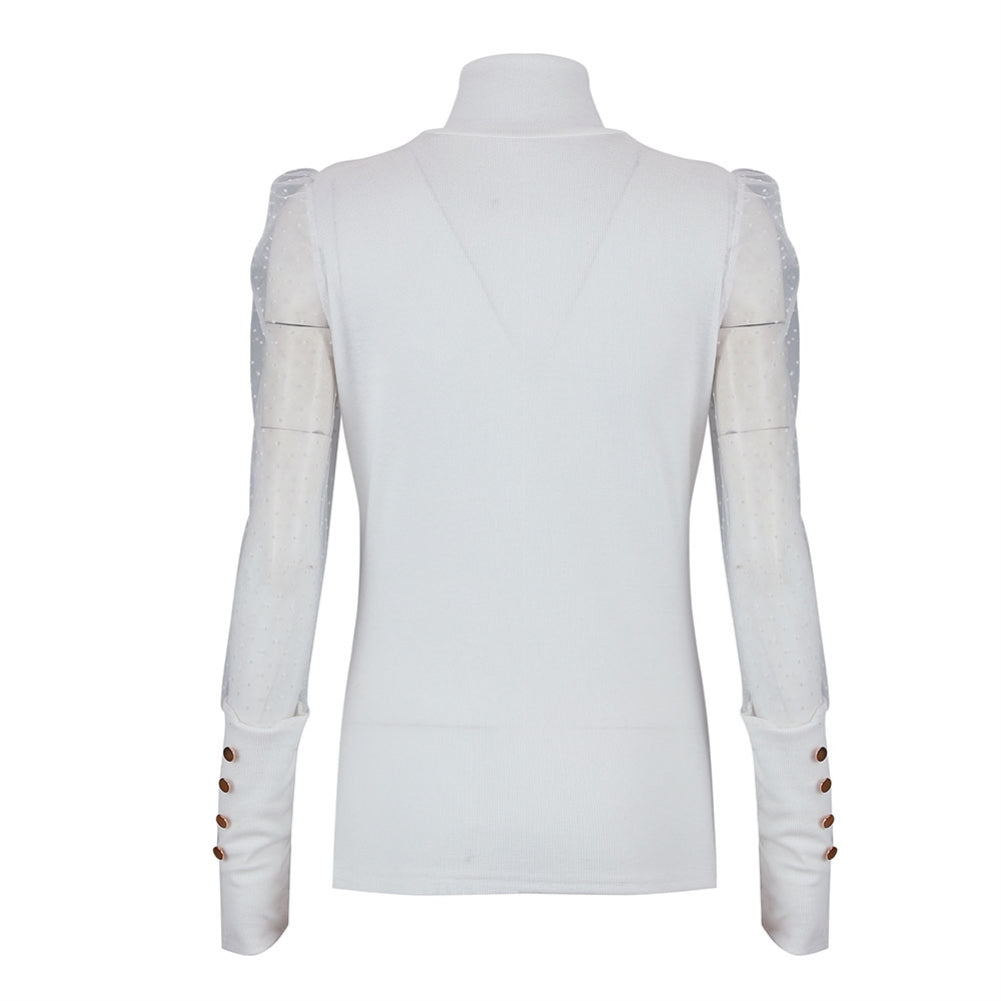 White High Neck Basic Top with Polka Mesh Sleeves