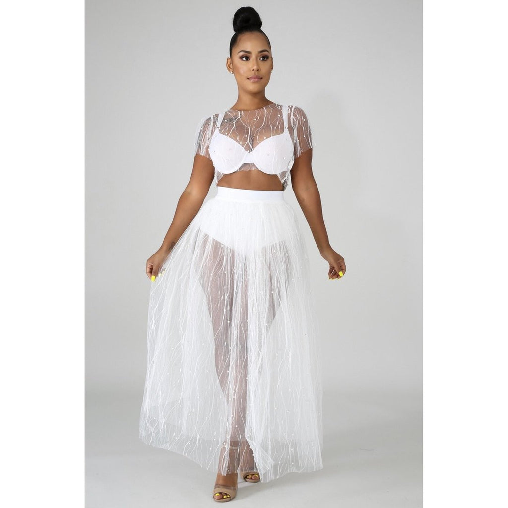 Sexy White Beaded Mesh Crop Top and Maxi Skirt
