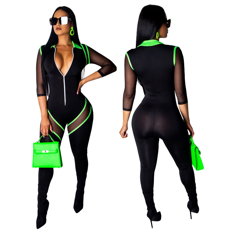 Zipped Up Black Lined Bodycon Jumpsuit