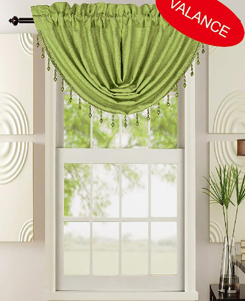 Leah Jacquard Textured Window Panel And Valance Treatments, Sage