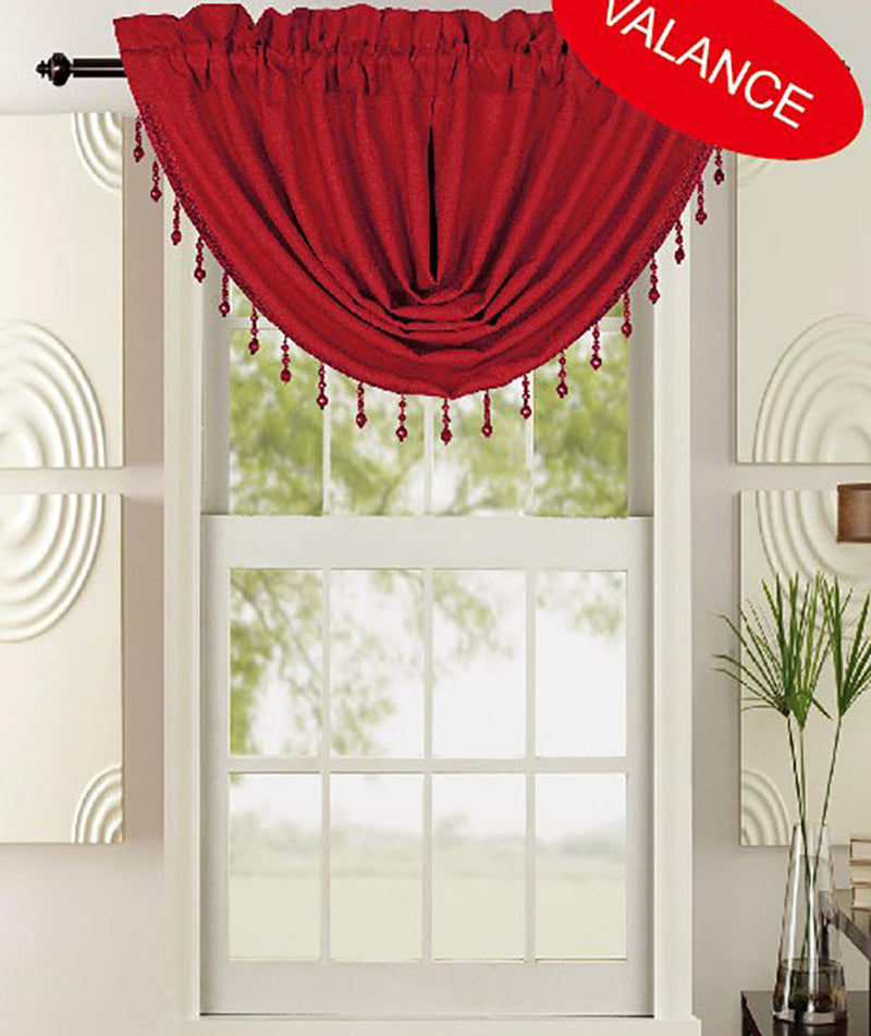 Leah Jacquard Textured Window Panel And Valance Treatments, Burgundy