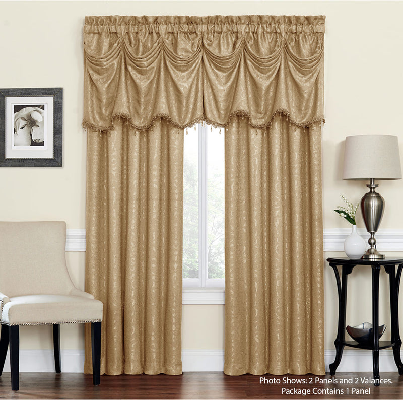 Bellini Jacquard Medallion Design Window Panel And Valance Treatments, Mocha