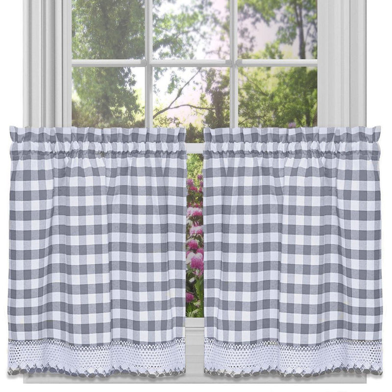 Buffalo Check Gingham Kitchen Curtain Separates, Grey, 58x14 & 58x36 Inches