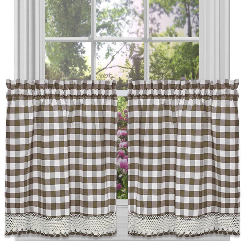 Buffalo Check Gingham Kitchen Curtain Separates, Taupe, 58x14 & 58x36 Inches