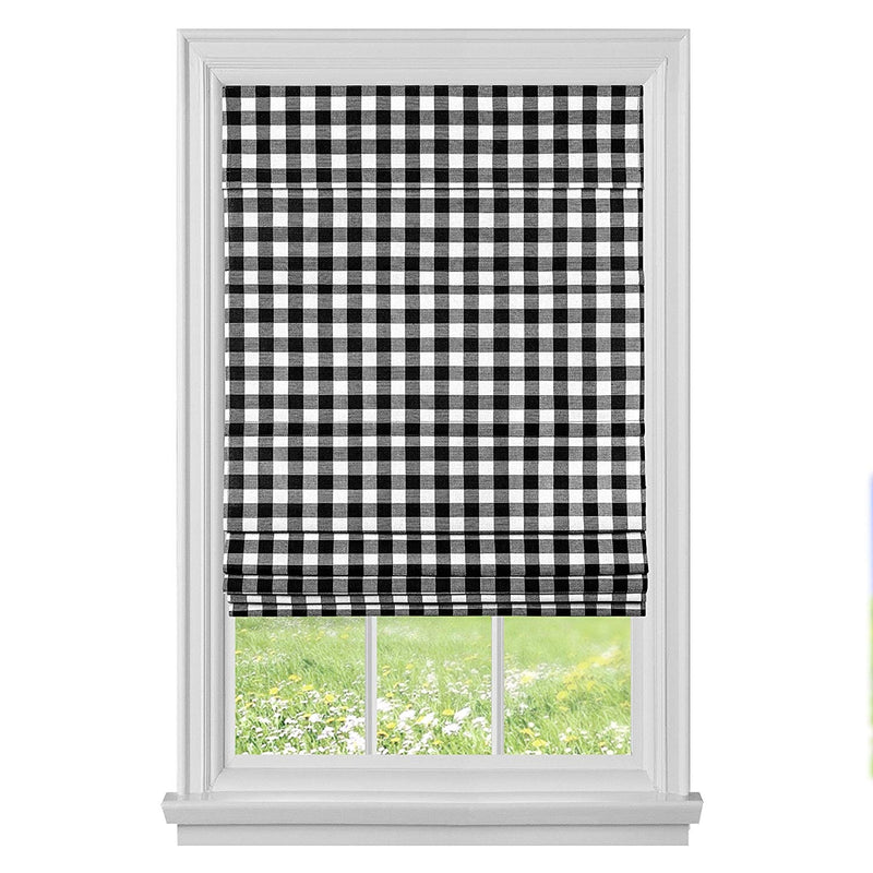 Achim Buffalo Check Cordless Fabric Roman Shade, Black-White