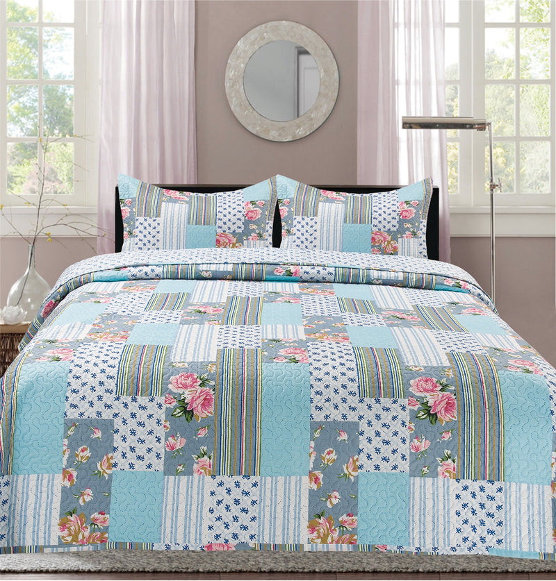 Premius Phoebe Box Printed Reversible Quilt Set, Blue