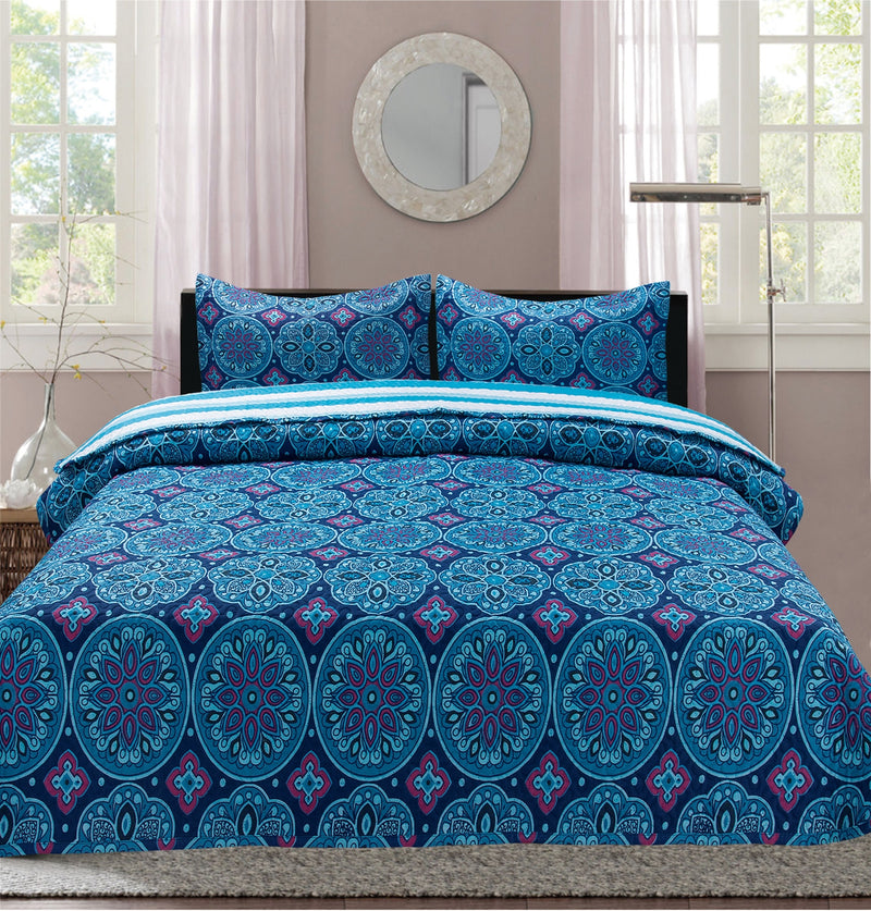 Premius Aboriginal Malie Printed Reversible Quilt Set, Purple
